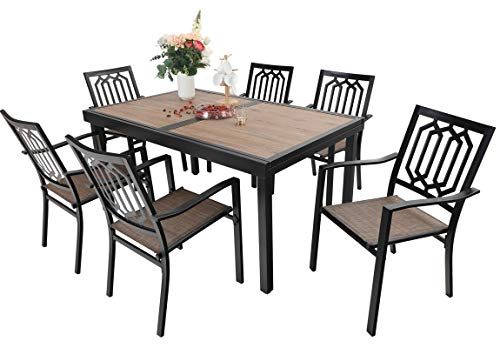 Sophia & William Outdoor 7 Pieces Dining Set with 6 Metal Chairs of Textilene Seat and 1 Expandable Rectangle Table with Wood-Like Top and Umbrella Hole, Modern Patio Furniture for Porch, Backyard