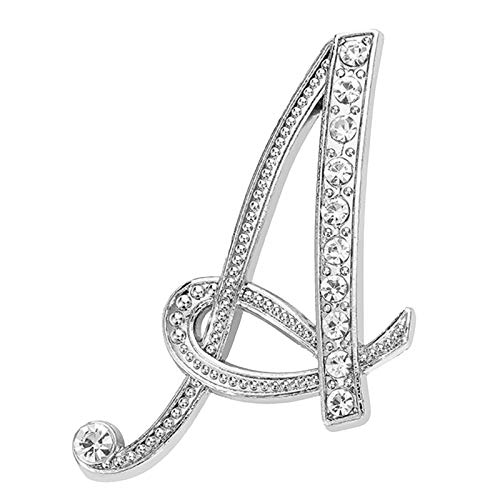 New personality female diamond-encrusted 26 English letter brooches, button pins, exquisite handicrafts, silver-plated metal transparent rhinestone design, daily decoration and wear (A)