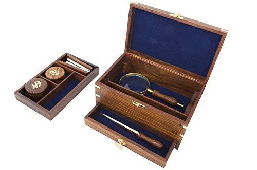 mare-me Schreibtischset Holz antik