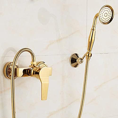 CWBB Grifos de aerógrafo, higiénico Faucets de bidé de Oro Latón de baño Ducha Fed Alimentado por soplado Boquilla Bidé Grifo Grifo de Agua fría y Caliente,Goldenb