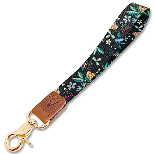 Wrist Lanyard Key Chain Wristlet Strap Keychain Holder with Lobster Clasp & Genuine Leather for Wallet Cell Phone ID Badge Camera Women Men Black Embroidery