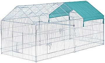 """PawHut 87"""" x 41"""" Outdoor Metal Pet Enclosure Small Animal Playpen Run for Rabbits, Chickens, Cats, Small Animals, Silver & Green"""