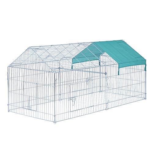 """PawHut 87"""" x 41"""" Outdoor Metal Pet Enclosure Small Animal Playpen Run for Rabbits  Chickens  Cats  Small Animals  Silver & Green"""