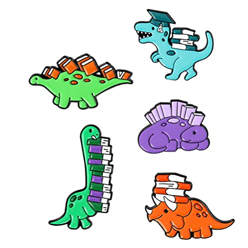 Holibanna Broche de desenho animado 5 peças Dinossauro Dinossauro com crachás de livro, mochilas, alfinetes de lapela para decoração de roupas femininas e meninas