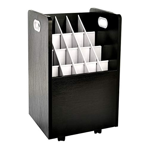 AdirOffice Mobile Blueprint Roll File Holder - Architectural Plan Storage Organizer for Home Office or School Use 20 Slots (Black)