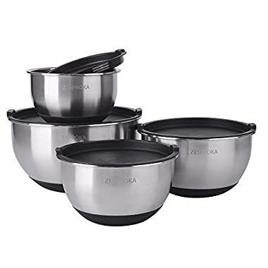 ZESPROKA Stainless Steel Mixing Bowls with Lids, Measurement Lines & Non-Slip Silicon Bottoms, Nesting Bowls for Space Saving, Set of 4