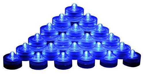 SAMYO Set of 24 Waterproof Wedding Submersible Battery LED Tea Lights Underwater Sub Lights- Wedding Centerpieces Party Decorate (Blue)