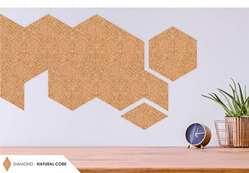 Suber Geometrics   Naturkork Wandfliesen   Rautenform   12er Pack selbstklebend   15 cm pro Seite   Pinnwand / 3D Design   Wand/Boden/Verkleidungsdekoration (Natur)