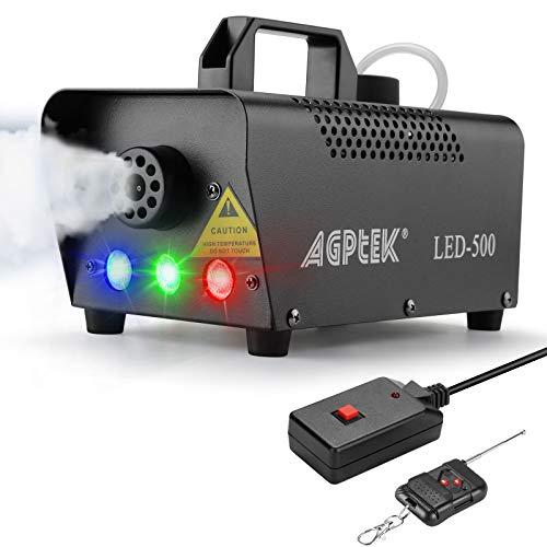 Nebelmaschine, AGPtEK Nebel Maschine mit kabelloser Fernbedienung UND aktiviertes LED Licht, 500 WATT Stabil & Tragbar, Passend für Halloween, Weihnachten, Hochzeitsfeiern & Bühnenauftritte usw