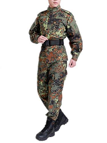 Tarnanzug Kampf BDU Uniform Militäruniform BDU Jagd Anzug Wargame Paintball Mantel + Pants (L, German Jungle Spots Tarnanzug)