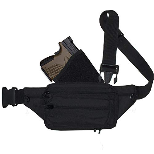 Fanny Pack Holster. Ultimate Fanny Pack for Concealed Carry. This Black Nylon Fanny Pack for Pistols has numerous Compartments with an Adjustable - Removable Holster (sub and compact size pistols)