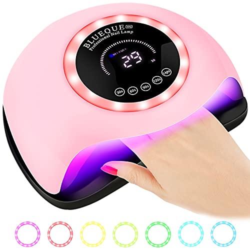 SaiXuan 168W UV LED Lampada Unghie,Con 4 Timer(30s,60s,90s,120s),Sensore Di Avvio Automatico,42 Luci UV/LED (Pink)