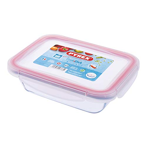 Pyrex Cook & Click - 0.8L Rectangular Food Storage Container with Clip Lock Plastic Lid