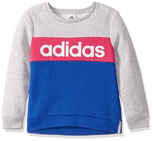 adidas Girls' Toddler Crewneck Pullover Sweatshirt, Adi Light Grey Heather, 3T