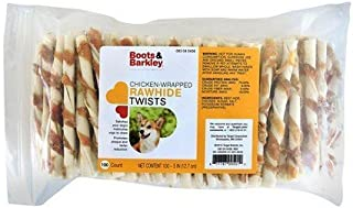 Boots & Barkley Chicken Wrapped Rawhide Twists - 100 Count Bag