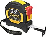 LEXIVON 25Ft/7.5m DuaLock Tape Measure | 1-Inch Wide Blade with Nylon Coating, Matte Finish White & Yellow Dual Sided Rule Print | Ft/Inch/Fractions/Metric (LX-206)