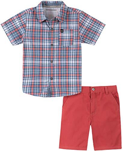 Calvin Klein Baby Boys' 2 Pieces Shirt Shorts Set, Blue Plaid/Red, 3-6-Months