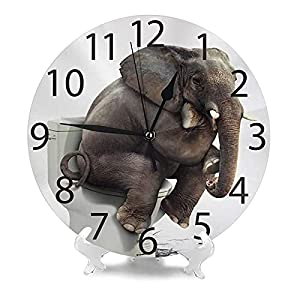 Funny Elephant Wall Clock Silent Non Ticking Round Decorative for Living Room Bedroom Bathroom Home Decor