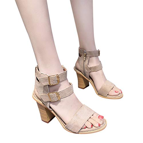 Lowest Prices! Xinantime Womens Elegant Thicken Heels Casual Rome Open Toe Sandals High Heel Square ...