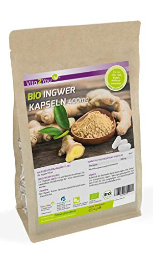 Bio Ingwer Kapseln 400mg - 180 Kapseln - 100% Naturbelassen - Ökologischer Anbau - ohne Zusätze - Premium Qualität