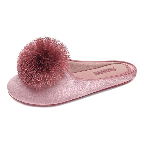 BCTEX COLL Women's Cute Tassel Pom Pom Home Slippers Velvet Indoor Slippers Memory Foam Casual House Shoes 7-8 Pink