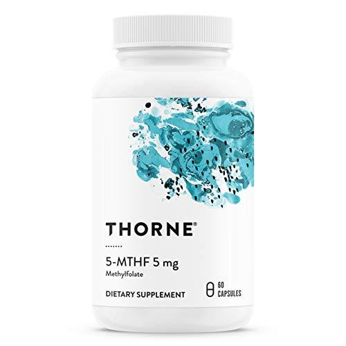 Thorne Research - Vitamina B9-5-MTHF 5 mg de folato - Suplemento activo de folato de Vitamina B9-60 Cápsulas