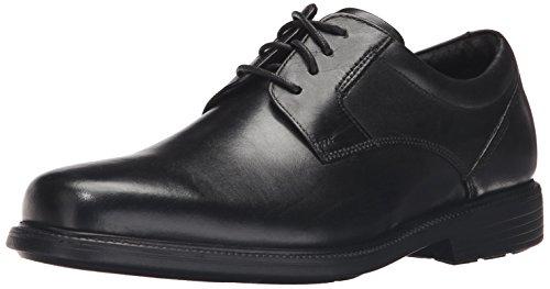 Rockport Men's Charles Road Plain Toe Oxford Black Leather 10.5 W (EE)-10.5 W