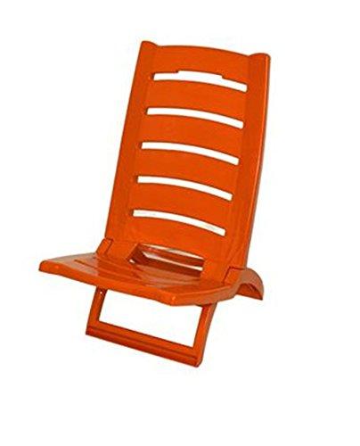 Vetrineinrete® Spiaggina da Mare Bassa Sedia Pieghevole richiudibile Portatile da Spiaggia Piscina Campeggio in plastica 60 x 37 cm (Arancione) X37