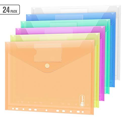 24 PCS Klettverschluss Dokumententasche A4, 6 Farben Sichttasche A4 Transparent, Dokumenten Mappen Brieftaschen Tasche für Organisieren mit 11 Lochrand und Etikettentasche