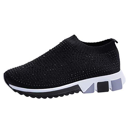 LäSsige Schuhe FüR Damen, Frauen Mode Freizeit Turnschuhe Bequeme Sportschuhe Strass Stretch Socken Flache Casual Sneakers Laufschuhe Walkingschuhe