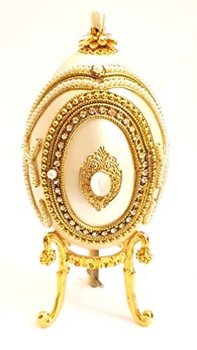 Fabergé Huevo de ganso auténtico Marco de fotos Fabergé caja de música caja de abalorios Faberge anillo caja de color marfil perlas de imitación diamantes adornado 22 K oro hecho a mano maestro