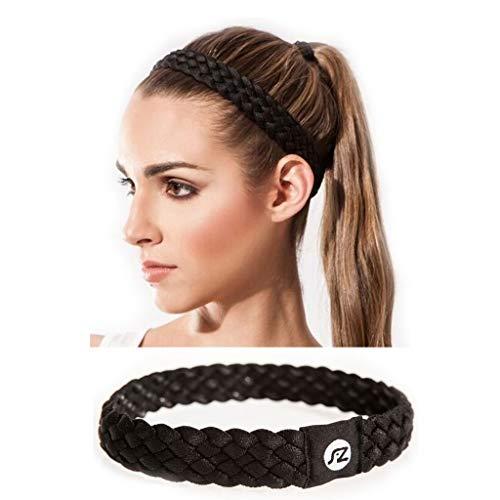 Sternitz Cintas de Pelo Trenzadas - Antiresbalante Yoga - Pilates - Running. Headbands (Negro)