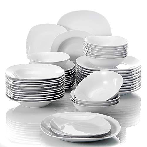 ZLDGYG Set de vajilla de Porcelana de 48 Piezas Conjunto de Cuencos de Cereales Cena Cena Sopa Placas de Postre Establecer Servicio para 12 Personas