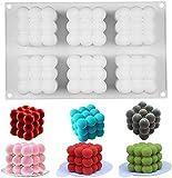 XIAOLONGWANG 6 Cavidades Molde De Vela De Silicona 3D Cube Cuadrado Burbuja DIY Non-Stick Cocina Postre Pastel De Torta Bandeja Horno Caja Fuerte Moldes De Pastel