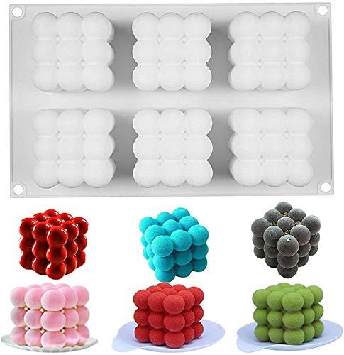Kerzenformen Silikon-Diy-Kerzen-Form 3d Ball Cube Rubik,6 Hohlraum Silikon Bubble Cube Kerzenform,Kerzenform 3d Ball Cube Silikon, Kerzenformen, Kerzen Silikonform, 3d Ball Cube Silikon Mold