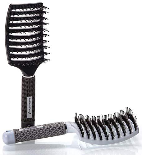 Rziioo Boar Bristle Hair Brush Set - Cepillo de Pelo para desenredar, Curvo y ventilado, para Mujer Largo, Grueso, Delgado y Rizado(2pcs)