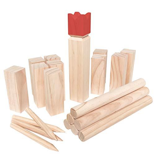 WELLGRO Kubb Spiel 22-TLG. - für 2-12 Spieler, massiv Holz, roter König, Wikingerspiel inkl. Spielanleitung und Netzbeutel - Schwedenschach Rasenschach Wurfspiel