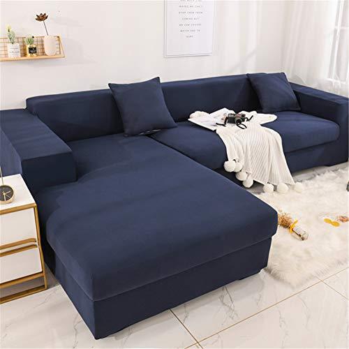 Hiser Funda Elástica de Sofá Universal Chaise Longue Fundas Protectora para Sofa contra Polvo en Forma de L 2 Piezas Extraíbles y Lavables Cubre Proteger (Azul Marino,4 Asientos + 3 Asientos)