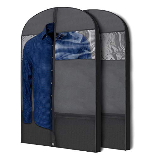 Plixio Gusseted Garment Bags Suit Bag for Travel and Clothing Storage of Dresses, Dress Shirts, Coats— Includes Zipper Pockets and Large Transparent Window (2 Pack: 43