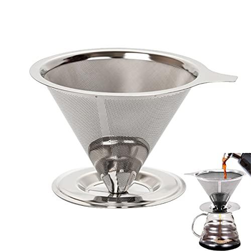 Tianyis Gotero de Café Reutilizable , Filtro de Café Permanente, Filtro para Cafe Acero Inoxidable, con Asa y Base, Coffee Dripper Filter, Cono Café Goteo Sin Papel Malla para 1-4 Tazas