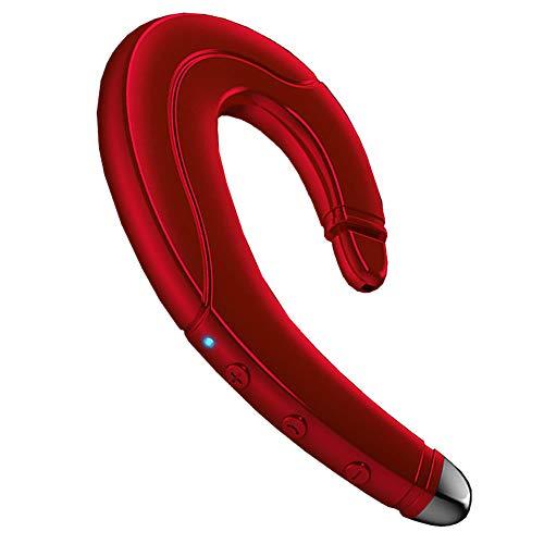 骨伝導イヤホン ワイヤレスイヤホン Bluetooth 5.0 ヘッドセット 片耳 高音質 左右兼用 耳掛け型 ブルートゥースイヤホン スポーツ マイク内蔵 iPhone&Android対応 在宅勤務用 (レッド)