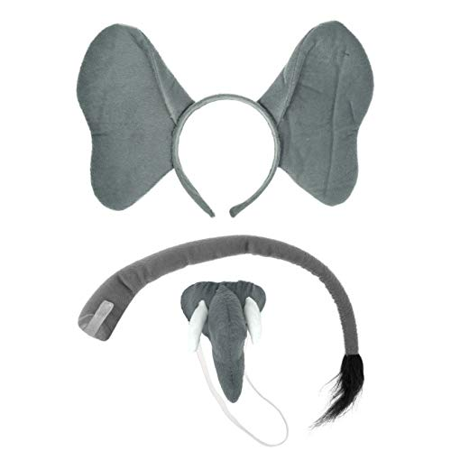Elephant Headband Ears, Tail, and Trunk Costume Accessory Set - Fits Adults and Kids