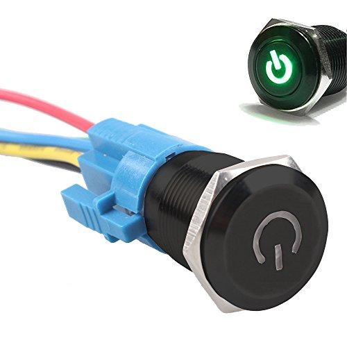 Mintice™ boîtier noir 16mm symbole de puissance Vert LED 12V bouton poussoir voiture interrupteur à bascule en métal Prise de courant