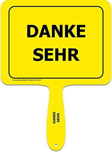 ARTICOO Danke sehr - Lustiges gelbes Kunststoffschild mit Griff - GELBE SCHILDER - DAS ORIGINAL