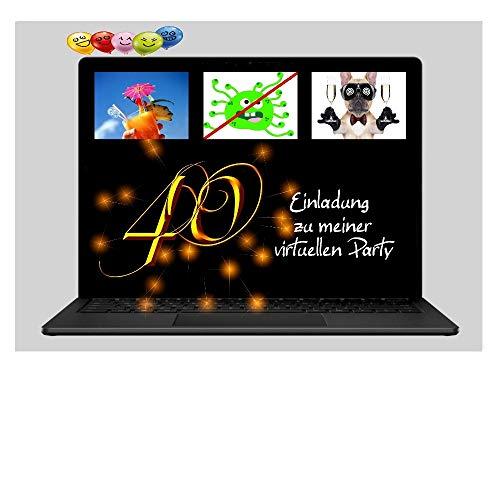 DigitalOase 2 Einladungskarten 40. Geburtstag VIRTUELLE PARTY Online Party MIT INNENTEXT 2 Klappkarten 2 Kuverts Format DIN A6#VIRTUAL