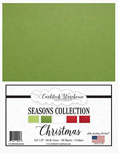 Christmas Seasons Collection - Red, Green and White Multi-Pack Assortment - 8.5 x 11 inch 65 lb Cover Cardstock - 50 Sheets from Cardstock Warehouse