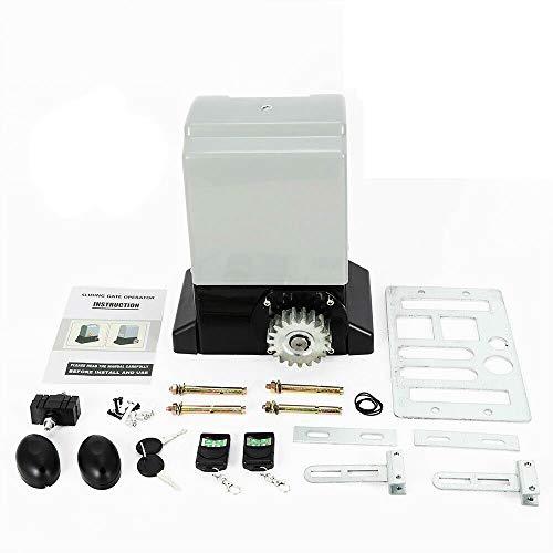 RDFlame - Motor eléctrico para puerta corredera con 2 mandos a distancia y accesorios (750 W, 20000 N)
