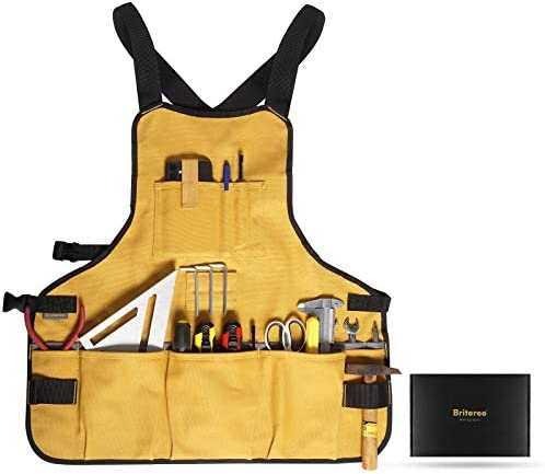 Briteree Work Tool Apron for Men and Women Torso Length with 21 Tool Pockets Gift for Woodworker product image
