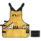 Briteree Delantal para herramientas de trabajo para hombres y mujeres, longitud del torso con 21 bolsillos para...