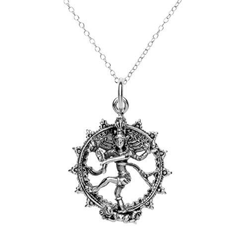 81stgeneration Women's Men's .925 Sterling Silver Shiva Hindu God Pendant Necklace, 18'